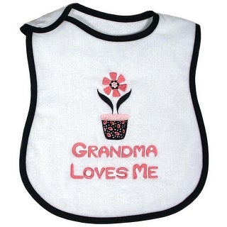 "Raindrops Unisex Baby ""Grandma Loves Me"" Embroidered Bib, Black - One size"