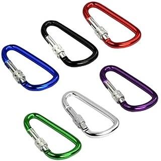 Image 6PCS Carabiner Aluminum Locking Clip Snap Hook Camping Keychain D Shaped