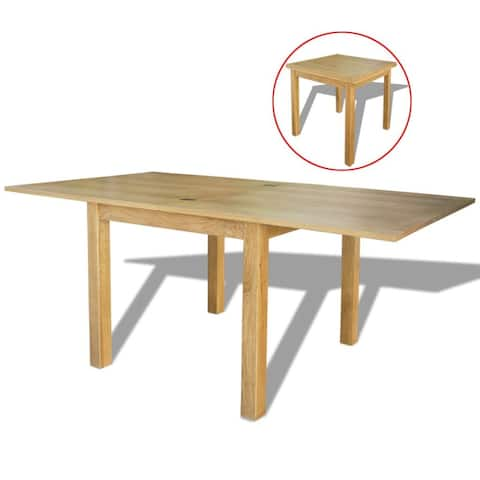 """vidaXL Solid Oak Extendable Table 33.5""""-67"""" Dining Room Home Kitchen Furniture"""