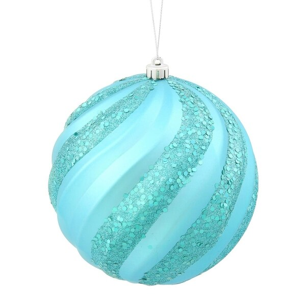 "Turquoise Blue Glitter Swirl Shatterproof Christmas Ball Ornament 6"" (150mm)"