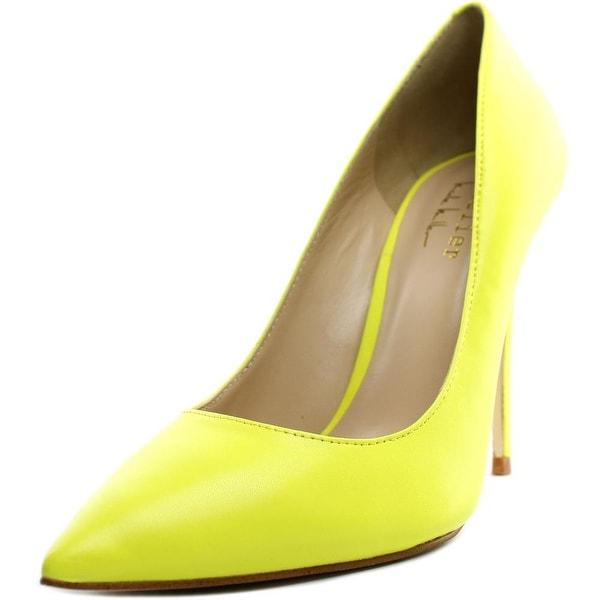 Nicole Miller Maison Women Pointed Toe Leather Yellow Heels