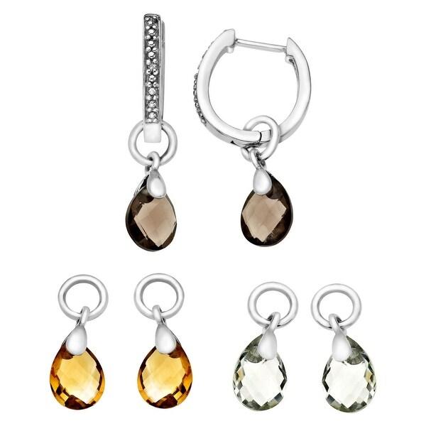 Interchangeable Multi-Stone Earrings with Diamonds in Sterling Silver - Brown