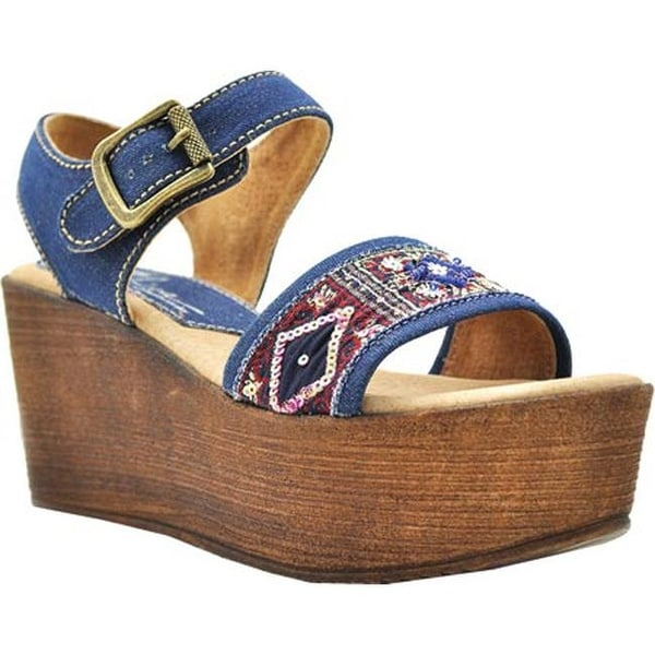 cd7cb6040bc2 Shop Sbicca Women s Tampa Beaded Platform Sandal Denim Beaded - On Sale - Free  Shipping Today - Overstock - 12055898