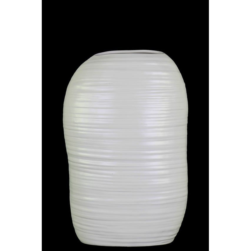 Ceramic Tall Irregular Vase With Combed Design, Small, White