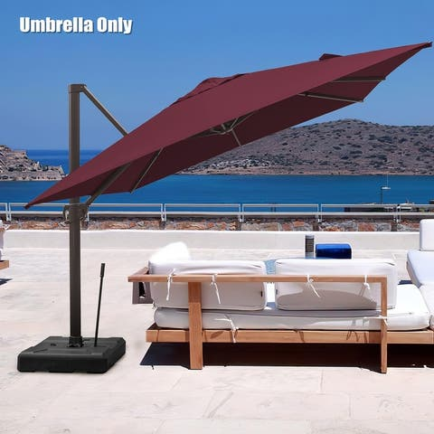 Pellebant 10 X 10 Ft Outdoor Square Patio Offset Umbrella, Base Not Included