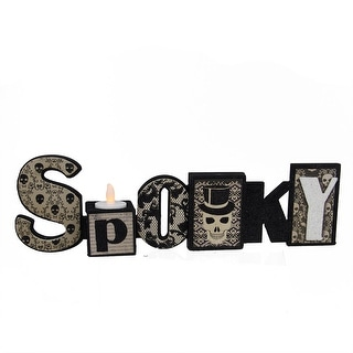 """14"""" Black and White Glittered """"Spooky"""" Halloween Candle Holder"""
