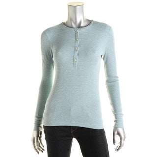 LRL Lauren Jeans Co. Womens Waffle-Knit Thermal Henley Top