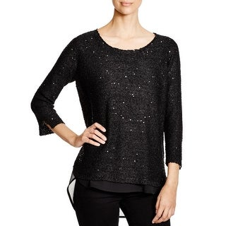 Sioni Womens Sweater Metallic Knit