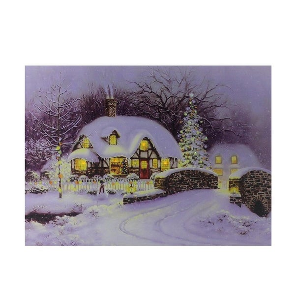 """Fiber Optic and LED Lighted Snowy Christmas House Canvas Wall Art 12"""" x 15.75"""" - WHITE"""