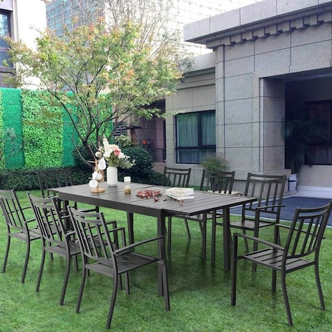 MFSTUDIO 7/9 Pieces Patio Dining Set with 8 Metal Stackable Chairs and 1 Expandable Rectangle Table