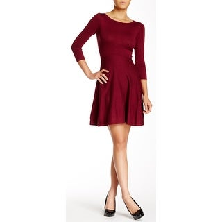 French Connection Sydney Knit Flare Sweater Dress Burgundy