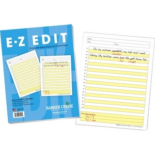Barker Creek E-Z Edit Writing Paper, 8-1/2 x 11 in, 50 Sheets/100 Pages