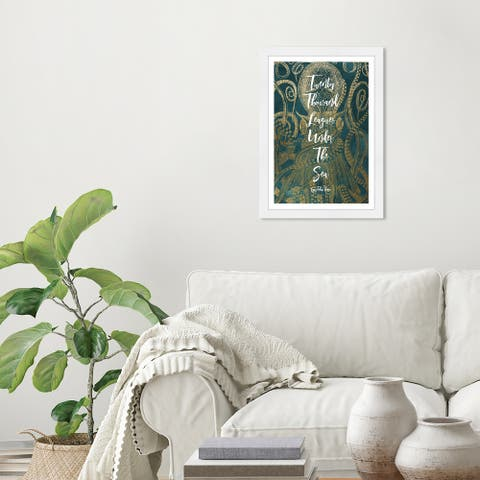 Wynwood Studio 'Twenty Thousand Leagues' Typography and Quotes Green Wall Art Framed Print