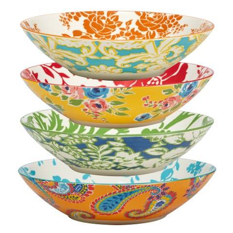 Certified International Damask Floral Assorted Designs Soup/Cereal Bowls, Set of 4