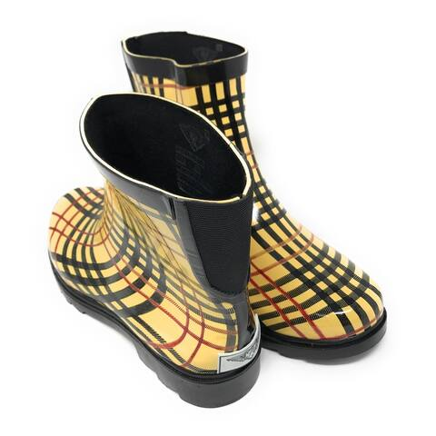 Forever Young Women's Plaid Print Rubber Rain Boots