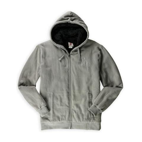 Quiksilver Mens Kadam Sherpa Hoodie Sweatshirt, Grey, Small