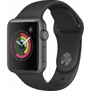 Apple - Apple Watch Series 1 38mm Space Gray Aluminum Case Black Sport Band - Space Gray Aluminum