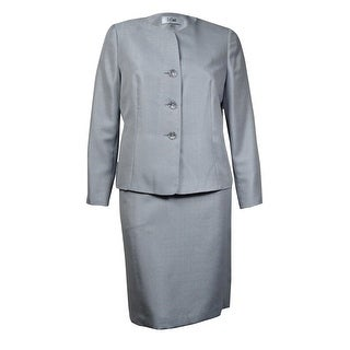 Le Suit Women's Quebec Woven Sheen Skirt Suit - Silver