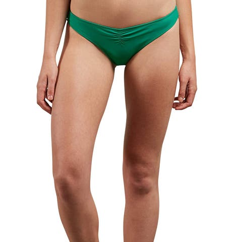 Volcom Women's Simply Solid V Beach Pant Bikini Bottom,, Green Spray, Size Large