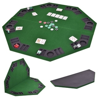 Costway 48'' Octagon 8 Player Folding Poker Table Top & Carrying Case Green Portable