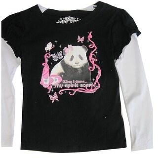 Disney Little Girls Black White Dance Bear Print Long Sleeved T-Shirt 4-6X