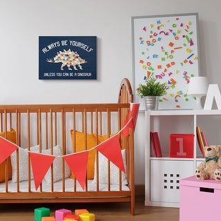 The Kids Room by Stupell Always Be Yourself Blue Dinosaur Kids Word Design Canvas Wall Art, Proudly Made in USA
