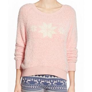 MAKE + MODEL NEW Pink Snowflake Print Women's Large L Crewneck Sweater