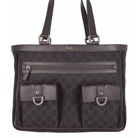 NEW Gucci 268639 BROWN Denim Abbey Pockets GG Guccissima Handbag Purse Tote