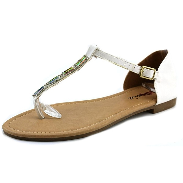 Dollymix Ella-60 Women Open Toe Synthetic White Thong Sandal