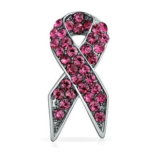 Bling Jewelry Pink Rhinestones Enamel Cancer Ribbon Pin Silver Plated