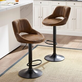 Retro Faux Leather Adjustable Height Swivel Barstools with Footrest