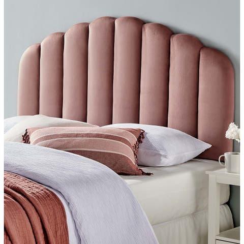 Burney Scalloped Heather Pink Velvet Upholstered Full/Queen Size Headboard