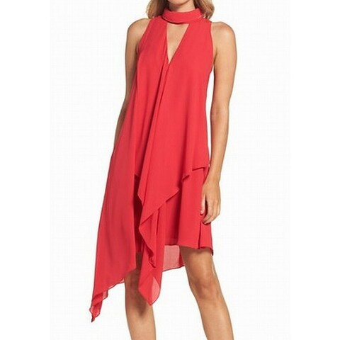 Maggy London Choker Asymmetrical Chiffon Women Sheath Dress