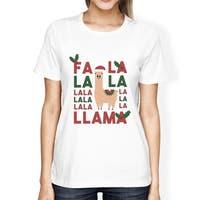Falala Llama Womens White Funny Graphic Cute X-Mas Tee Gifts