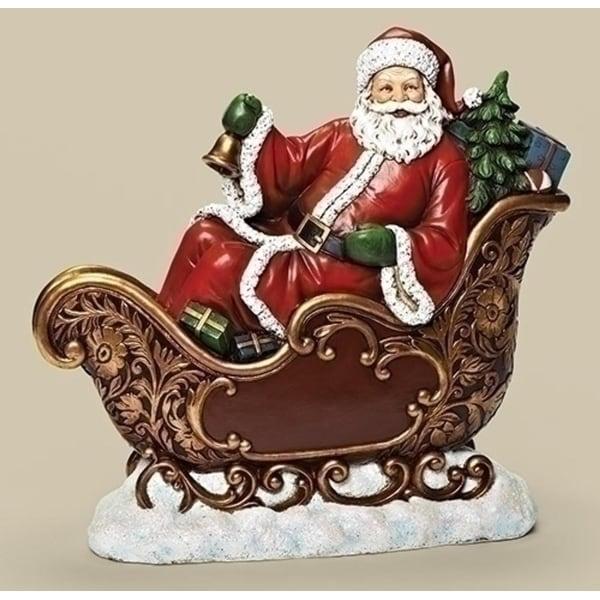"15.5"" Joseph's Studio Slim Profile Santa Claus in Sleigh Table Top Christmas Decoration - RED"