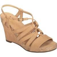 A2 by Aerosoles Women's Poppy Plush Strappy Sandal Light Tan Faux Suede