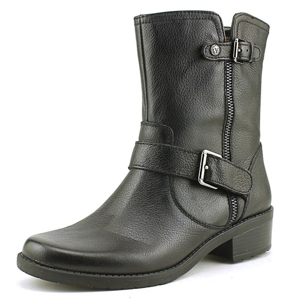 Anne Klein Leyna Women  Round Toe Leather Black Ankle Boot
