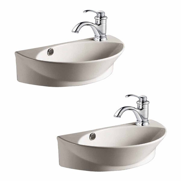 Shop 2 Wall Mount Porcelain Sink Single Hole Faucet Not Included