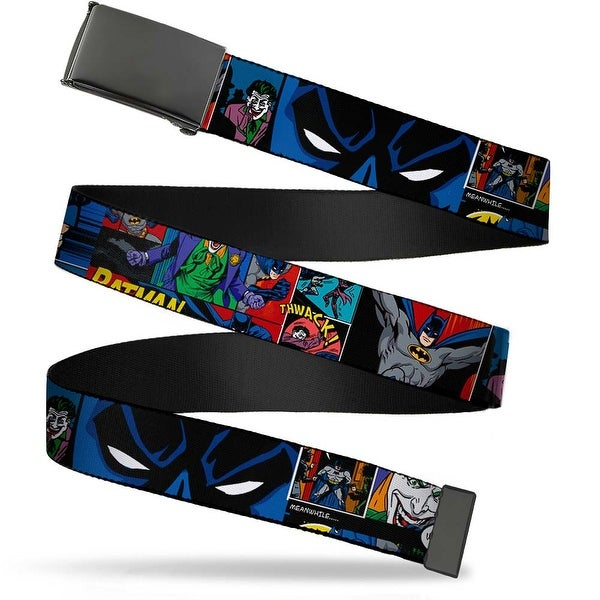 Blank Black Buckle Batman & Joker Comic Strip Webbing Web Belt