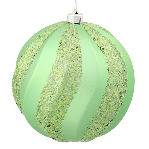 "Celadon Green Glitter Swirl Shatterproof Christmas Ball Ornament 6"" (150mm)"