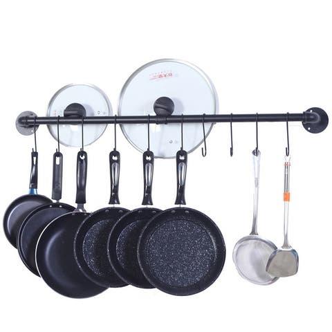 Pot Bar Rack Wall Mounted Pans Hanging Rail Kitchen Hanger with Hooks