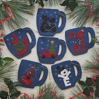 "Rachel's Of Greenfield Felt Ornament Kit 3.75""X4.125"" 6/Pkg-Merry Mugs"