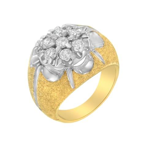 Men's 14K Yellow Gold 2ct. TDW Diamond Cocktail Cluster Ring (I-J,I2-I3)- Size 7.25
