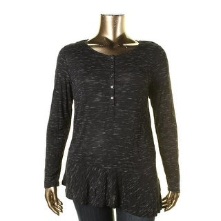 G.H. Bass & Co. Womens Henley Heathered Pullover Top