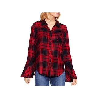 Two by Vince Camuto Womens Button-Down Top Bell Sleeves Stateside Plaid
