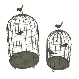 Birds On Cages 2 Piece Rustic Metal Decorative Birdcage Set