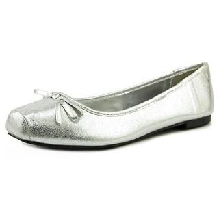 Mari A. Reyna Women Round Toe Canvas Silver Flats