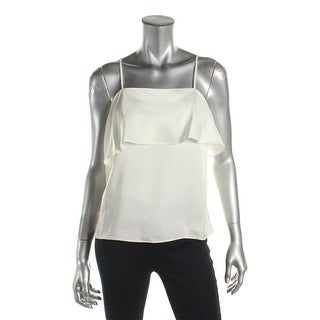 Elizabeth and James Womens Casual Top Ruffled Spaghetti Straps