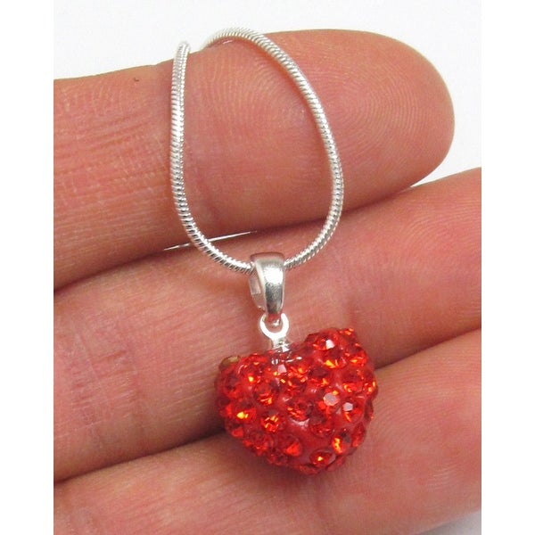 Valentine Crystal Heart Necklace - Red