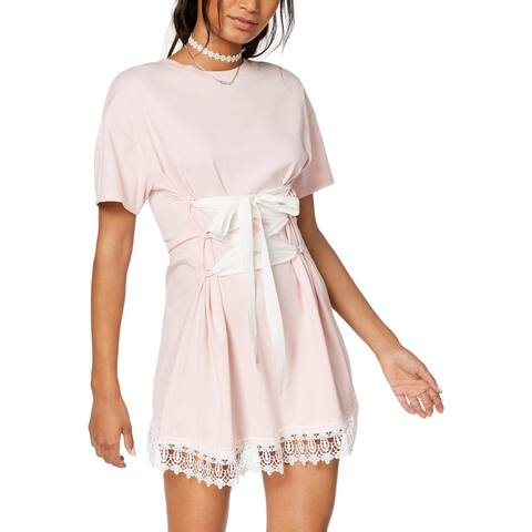 The Edit Womens Juniors T-Shirt Dress Lace Inset Corset